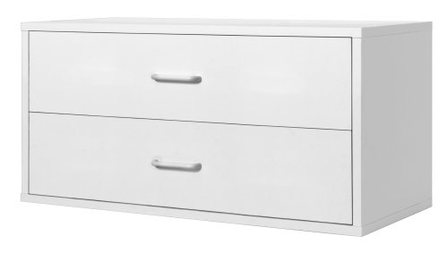Amazon com foremost 327901 modular large 2 drawer cube storage system white home kitchen