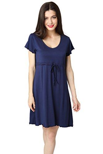 Aibrou Women's Tunic Tops Round Neck Nightshirt Empire Waist Short Sleeve Sleep Shirt