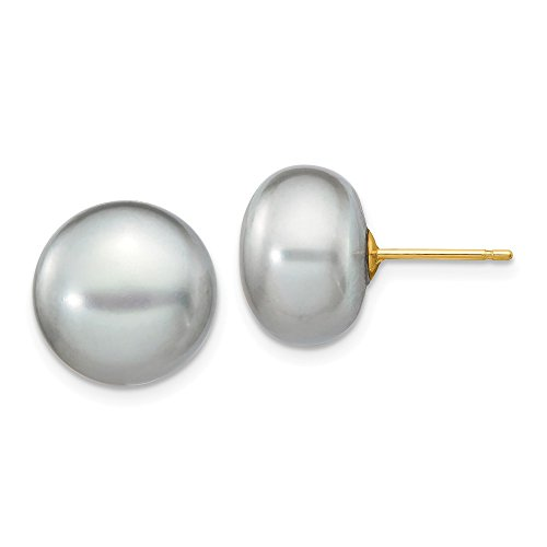 14k Yellow Gold 12mm Grey Button Freshwater Cultured Pearl Stud Post Earrings Ball Fine Jewelry Gifts For Women For Her