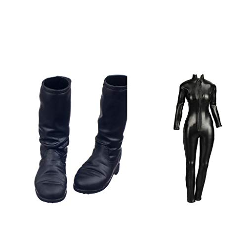B Blesiya 1:6 PU Leather Jumpsuit&Boots for 12inch Hot Toys/Phicen/Kumik Figures ()