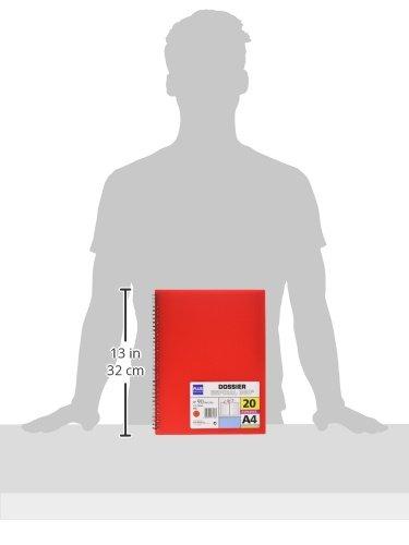 rojo Carpeta dossier con 20 fundas y espiral Plus Office 13461-20-RD