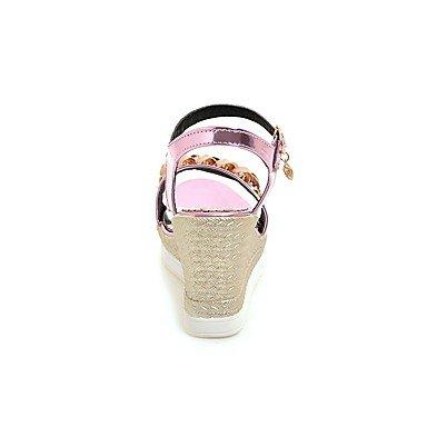 dc685a1035b LvYuan Mujer Sandalias Confort Tira en el Tobillo Cuero Patentado Verano  Vestido Confort Tira en el ...