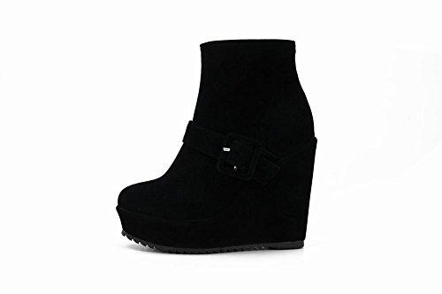 Johannesbroeken Dames Zip Gesp Fashion Platform Sleehak Korte Laarzen Zwart