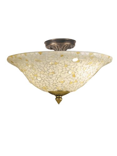 Dale Tiffany 8565/3LTF Mosaic/Clear Flush Mount Light, Antique Bronze and Mosaic Shade (Mission Semi Flush Ceiling Fixture)