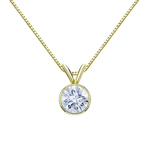 Diamond Wish 14K Yellow Gold Round Moissanite Solitaire Pendant 5mm 0.50 TGW in Bezel (G-H, Color) 18
