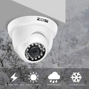 ZOSI 4 Pack HD-TVI 1280TVL 720p Home Security Camera Outdoor Indoor, Weatherproof Surveillance CCTV Dome Camera with 80ft Long Night Vision and 75° View Angle