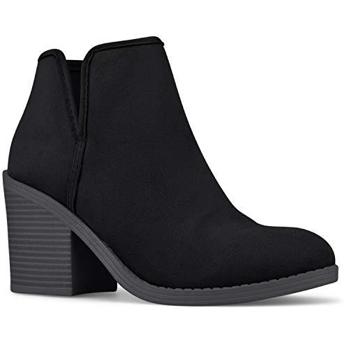 Premier Standard - Women's Side Zipper Closed Toe Booties - Low Heel Casual Comfortable Walking Booties, TPS Boots-Tegrat Black Size 10