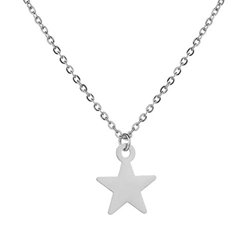 lightclub Simple Hollow Star/Love Heart/Crown/Rudder Pendant Long Chain Necklace Jewelry - Silver Star # Elegant Necklace for Women