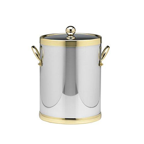 (OKSLO Polished chrome & brass 5 qt. ice bucket - engravable personalized gift item )