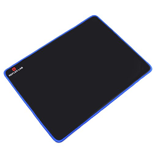 "Reflex Lab Large Gaming Mouse Pad Mat, Stitched Edges, Waterproof, Ultra Thick 5mm, Silky Smooth- XL Mousepad 15""x11"" Blue (Genetic Edge)"