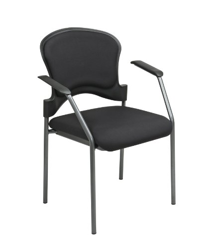 (Office Star Padded Coal FreeFlex Mesh Seat Visitors Chair with Armrests, Upholstered Contour Back, and Titanium Finish Frame, Black)