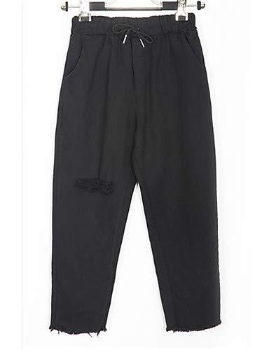 YFLTZ Pantalon Hole pour Jeans Colored White Basic Solid Femme xBwvdaxr