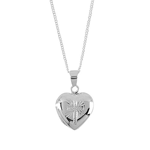 (Dicksons Heart Locket with Detailed Cross Design Silver-Plated 18-Inch Pendant Necklace)