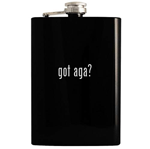 got aga? - Black 8oz Hip Drinking Alcohol Flask (Aga Black Hood)