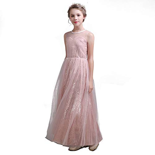 Junior Bridesmaid Dresses Rose Gold Sequin Flower Girl Dress Pageant Dresses for Girls Formal Wedding Party Maxi Dress Dance Ball Gown 8t