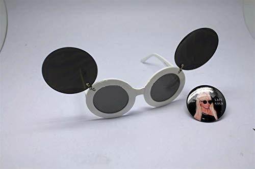 Button Pin of Lady Gaga Wearing Mouse Ear Flip Up White Black Lens Sunglasses #LU01 (Sunglasses Flip Lady Gaga Up)