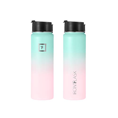 Iron Flask Sports Water Bottle - 22 Oz, 3 Lids (Straw Lid), Vacuum Insulated Stainless Steel, Hot Cold, Modern Double Walled, Simple Thermo Mug, Hydro Metal Canteen (Bubble Gum)