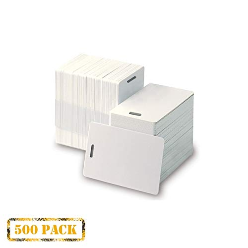 (Pack of 500 White CR80 PVC Cards with Slot Punch on Short Side | 30 mil by easyIDea)