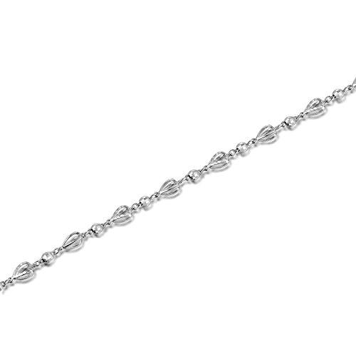 """Ouverture en or blanc 14 carats avec diamant et balle avec Chaîne (6.5 """")"""