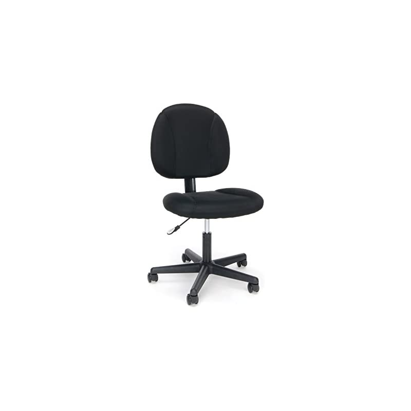 Essentials Swivel Upholstered Armless Task Chair - Ergonomic Computer/Office Chair, Black (ESS-3060)