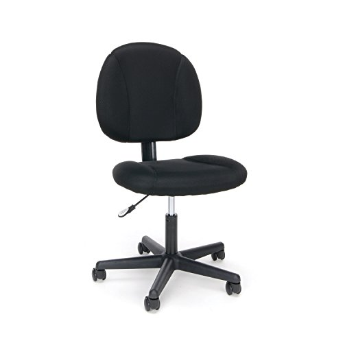 Essentials Swivel Upholstered Armless Task Chair – Ergonomic Computer/Office Chair, Black (ESS-3060)