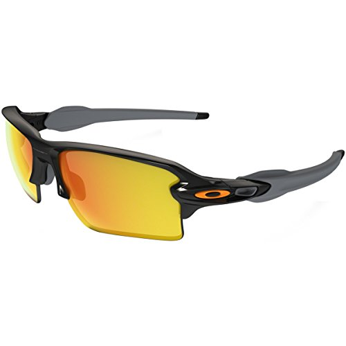 Oakley Men's Flak 2.0 Xl Non-Polarized Iridium Rectangular Sunglasses, Polished Black w/Fire Iridium, 59 - Oakley Polarized Fire Iridium