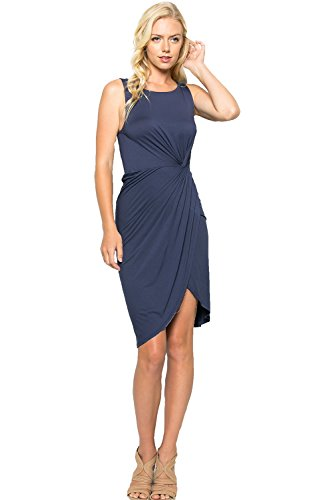 Knot Front Knit Dress (Women's Sleeveless Side-Knot Wrap Front Dress Blue Grey Large D5005)