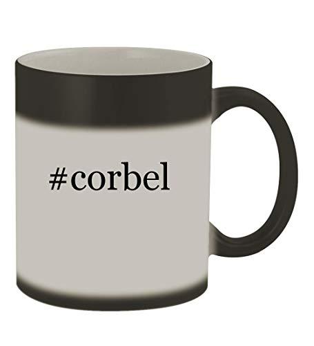 #corbel - 11oz Color Changing Hashtag Sturdy Ceramic Coffee Cup Mug, Matte Black