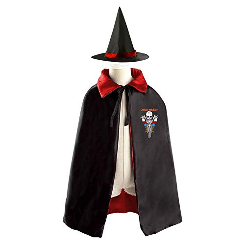 (69PF-1 Halloween Cape Matching Witch Hat Funny Zombie Wizard Cloak Masquerade Cosplay Custume Robe Kids/Boy/Girl Gift Red)