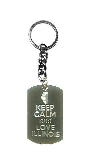Hat Shark Keep Calm and Love Illinois State Logo - Metal Ring Key Chain ()