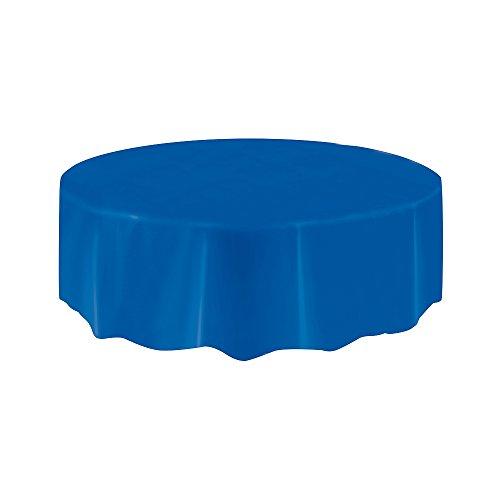 "Royal Blue Round Plastic Tablecloth 84"" Diameter"
