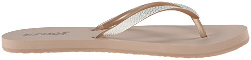 Reef Women's Stargazer Sassy Flip Flop, Taupe/White, 6 M US