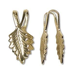 Glue on Bail Leaf 19mm Gold Plated Brass Pendant & Jewelry Findings 144 Bails