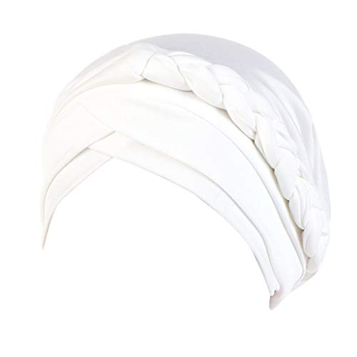 iHHAPY Beanie Turban Wrap Cap Headscarf India Women Hat Muslim Ruffle Braid Cancer Pure Color Solid Plait Chemo (White, one Size)