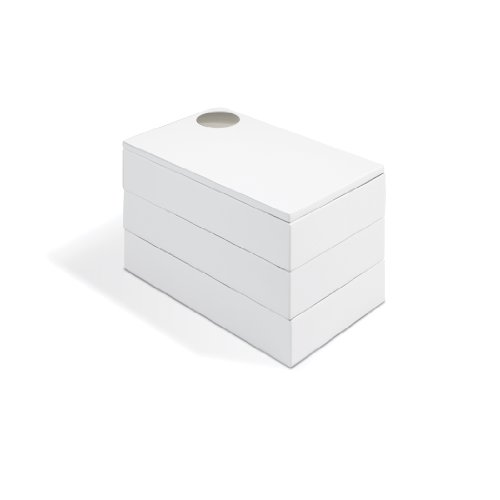 Umbra Spindle Jewlery Box, Wood Jewelry Box with White High-Gloss Finish