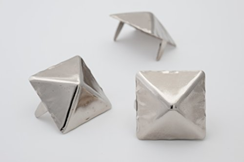 Giant Pyramid Studs - Size 25 - Ideally used for Denim and Leather Work - Classic Two-Prong Studs - Available in Silver Color - Pack of 25 ()
