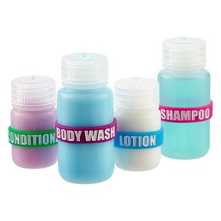Travel Bottle Labels/ Bands for your Shampoo, Conditioner, Body Wash, Lotion fits most travel bottles (bottles not included only labels)