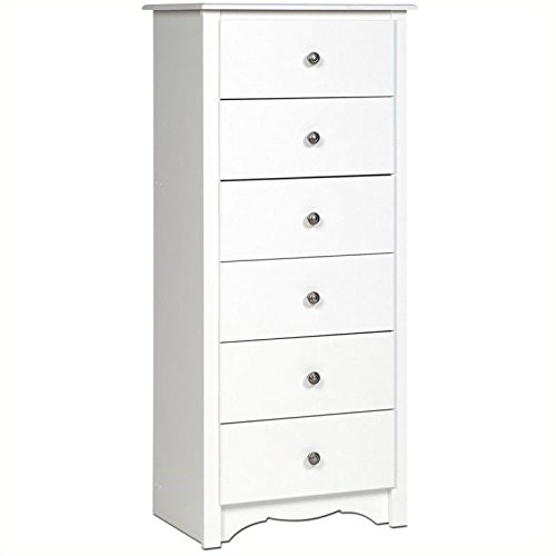 - BOWERY HILL 6 Drawer Lingerie Chest in White