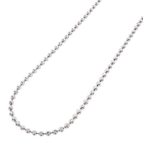 Sterling Silver Diamond Cut Bead - Sterling Silver Italian 2mm Ball Bead Moon Cut Solid 925 Rhodium Necklace Chain 16