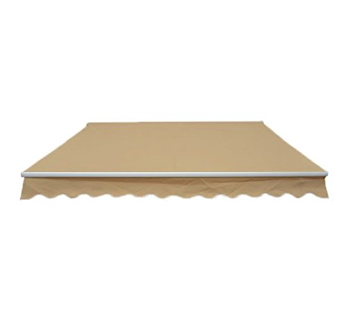 Outsunny Patio Manual Retractable Sun Shade Awning, 10 x 8-Feet, Cream