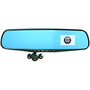 """Official HD Mirror Cam – As Seen on TV Dash Cam 350°, Motion Detection, 2.5"""" LCD, 720P HD, Dashboard Camera Video Recorder with Micro SD Card, Built-In Rechargeable Battery, Loop Recording, Night-mode"""