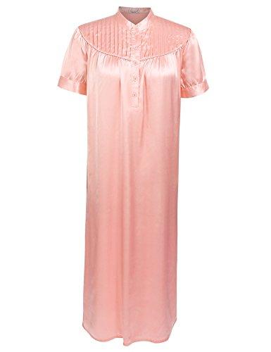 Length Gown Waltz (Ekouaer Nightshirt Women's Short Sleeve Nightgown Nightware Waltz Gown Pink M)