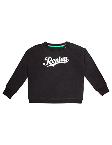 Replay Girls Black Sweater With Print And Sequin Detail in Size 12 Years Black by Replay