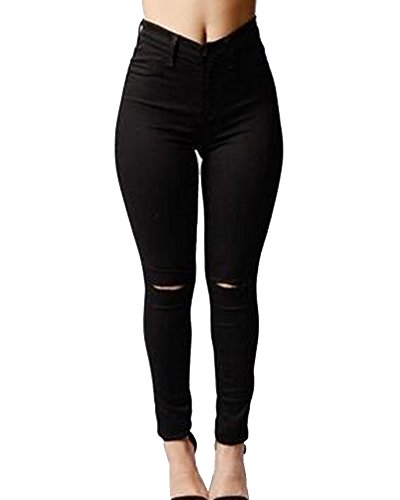 Femme Genoux Stretch Pantalons Jean Noir Haute Casual Trou Legging Denim Skinny Taille Eqn4g