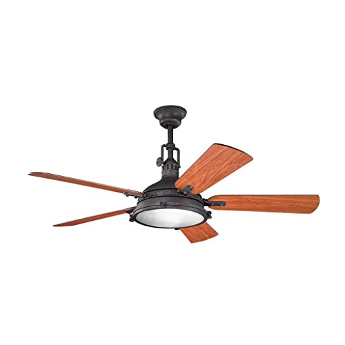 Kichler Lighting 300018DBK Hatteras Bay 56IN Ceiling Fan, Distressed Black Finish with Fresnel Glass Light Kit and Reversible Wood Blades