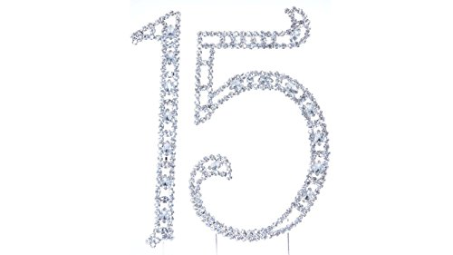15 Large Crystal Rhinestone Crystal Cake Topper Silver, Numbers, Letters for Wedding, Birthday, Anniversary, Party. Shine & Sparkles. RHINESTONE. BEST OFFER ON AMAZON. (15 Large Crystal)
