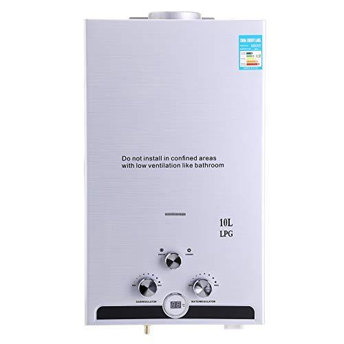 Z ZELUS 10L Calentador de Agua LPG Calentador de Agua Instantaneo 20KW Calentador de Agua de Gas Licuado de Petroleo sin Tanque (10L)