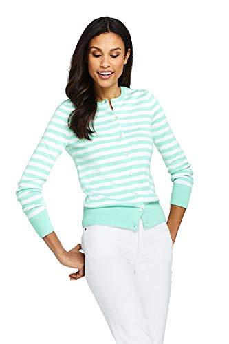 - Lands' End Women's Petite Supima Cardigan Stripe Sweater