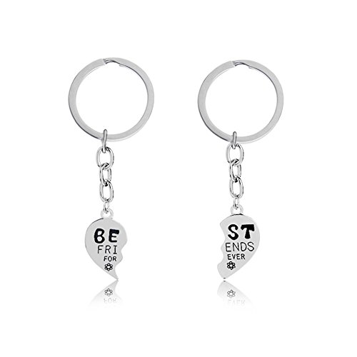 Heart Shaped Key Charm - Best Friends Forever Keychain Charm Key Ring Broken Heart-shaped Puzzle BFF Friendship Best Friends Gifts Matching Keychain Birthday Christmas Gifts