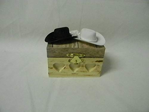 Wedding ceremony Party Ring bearer Pillow Box Hold Rings Western cowboy hats by Custom Design Wedding Supplies by Suzanne